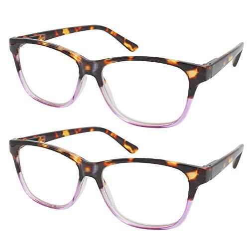 TBOC Gafas de Lectura Presbicia Vista Cansada - (Pack 2 Unidades) Graduadas +3.00 Dioptrías Montura de Pasta [Carey - Lila] de Diseño Moda Hombre Mujer Unisex Lentes de Aumento Leer Ver de Cer
