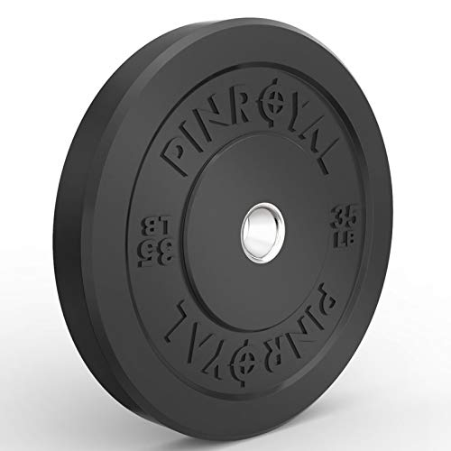 PINROYAL Bumper Plate 35LB, Olympic Weight Plate with 2 inch Stainless Steel Hub, Rubber Barbell Weights to Protect Floor, Smooth Strength Training Plate to Protect Bar from Scratches, Single.