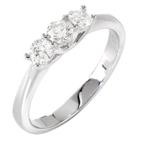 Bague - Anillo de mujer de oro blanco (18k) con 3 diamantes (talla: 12)