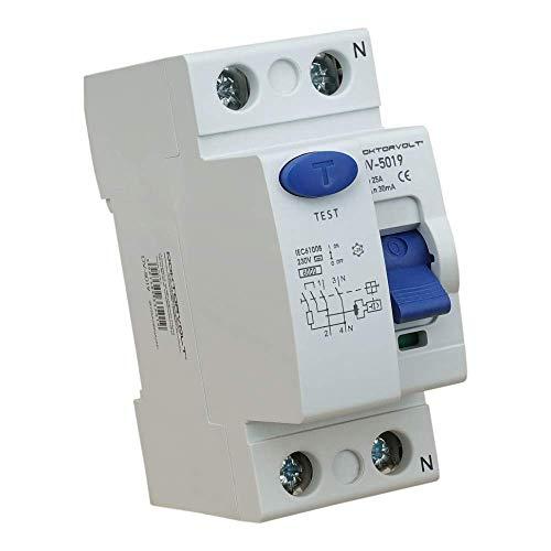 Interruptor diferencial 2P 25A 30mA Tipo AC Interruptor FI RCCB RCD Interruptor Doktorvolt 5026