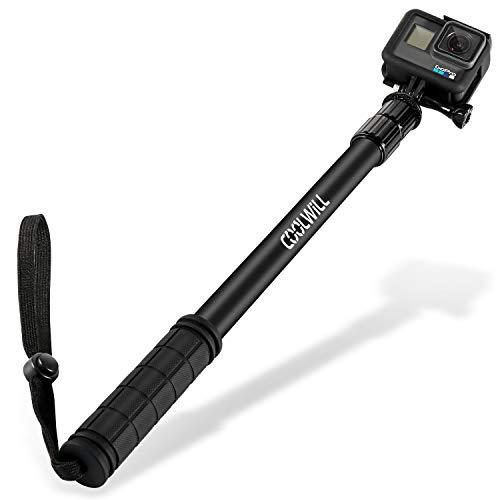 Coolwill PL-3829 Wasserdicht Selfie Stick für GoPro und Action Cam, 40 in Aluminium Legierung Stick für GoPro Hero7, Hero 6/5/Session/Fusion/Apeman/Rollei Actioncam