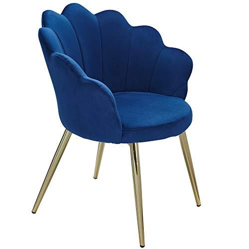 Wohnling - Sedia per sala da pranzo Tulipano, in velluto blu, imbottito, con gambe dorate, design scandinavo, con rivestimento in tessuto
