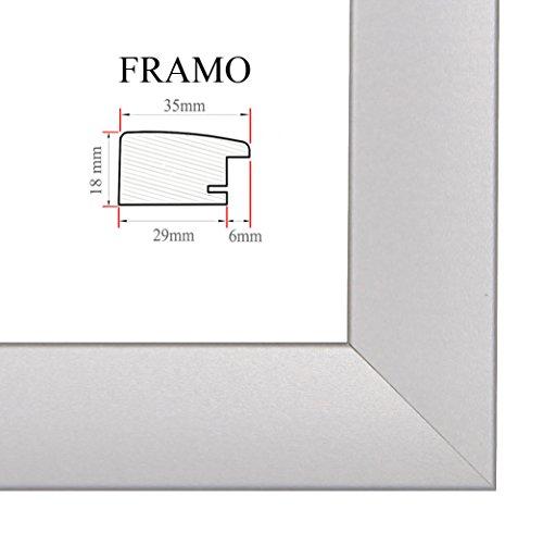 FRAMO 35 Bilderrahmen 59x26 cm, Farbe: Silber Matt, maßgefertigter MDF-Holz Rahmen mit Anti-Reflex Kunstglasscheibe, Rahmen Breite: 35mm, Außenmaß: 64,8 x 31,8 cm