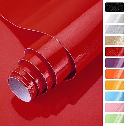 KINLO rot glanz Möbelfolie 5x0.61M PVC Klebefolie Küchenschrank Aufkleber Selbstklebend Küchenfolie Deko Plotterfolie