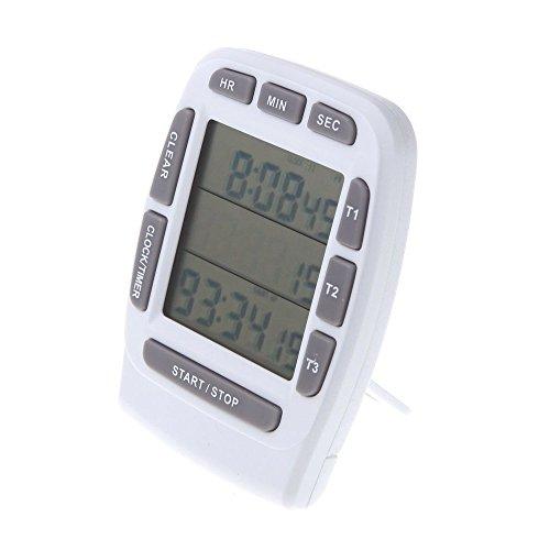 SODIAL(R) LCD Digital Alarma Temporizador con Triple Pantalla 3 Lineas Temporizador Cuenta atras Cronometro