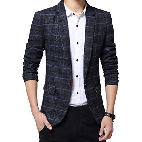 Mxssi Uomo Casuale Un Pulsante Cappotto Slim Fit Giacca Blazers A Quadri Outwear Maniche Lunghe Giacca da Uomo Casual Elegante Vestito di Affari Cappotto Giacca Blazers