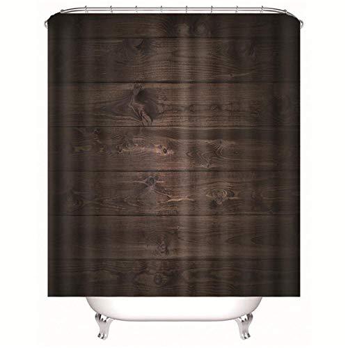 Bbaodan Badezimmer-Duschvorhang-Sätze Anti-Schimmel Wasserabweisend Duschvorhäng Aus Polyester 180 X 180 cm Dunkelbrauner Holzeffekt
