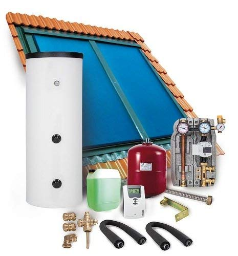 Solaranlage Komplettpaket Warmwasser Indachkollektor Flachkollektoren 6,06m² Solarspeicher 400l
