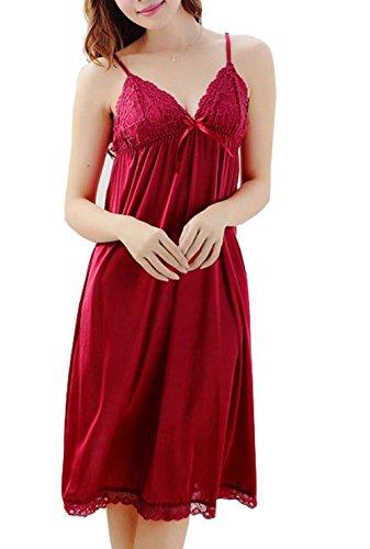 BININBOX Damen Nachthemd mit Spagetti-Trägern Sexy Spitzen Nachtwäsche Lace Negligee (Rot)