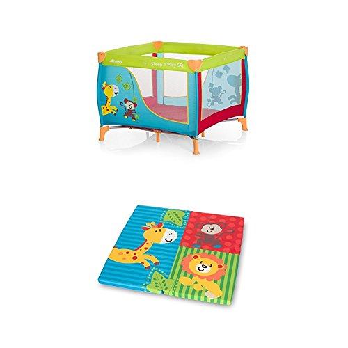 Hauck 606117 Sleep N Play SQ, leichtes quadratisches Baby-Laufgitter, Laufstall, Reisebett inklusive Matratze und Tasche, faltbar und tragbar, 90 x 90 cm, bunt inkl. Sleeper (Matratze)