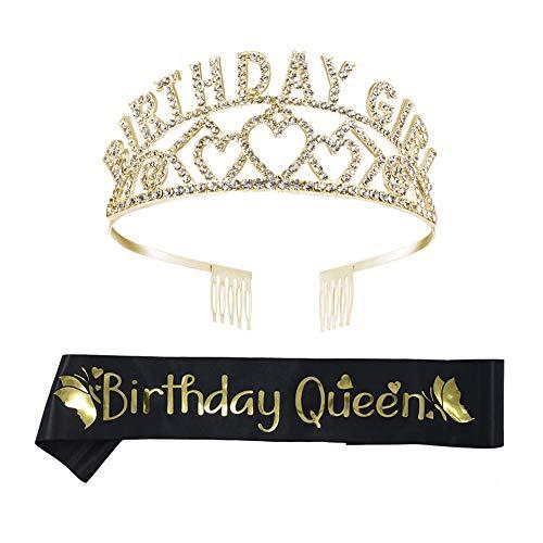 REYOK Compleanno Ragazza Tiara Corona, Birthday Girl Corona Tiara Strass Cristallo Gioielli Birthday Queen Fascia Sash per Feste di Compleanno o Torte di Compleanno Decorazioni
