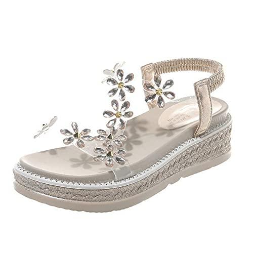Sandalias de Mujer de Moda Flor Banda elástica Slip-On Slingback Peep-Toe Plataforma Antideslizante Zapatos de Playa Ligeros y Transpirables