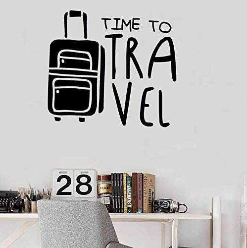 Travel Wall Stickers Quote Wall Decals Travel Time Home Decoration Holiday Room Decoration Explore Luggage Bedroom Applique 42X47Cm