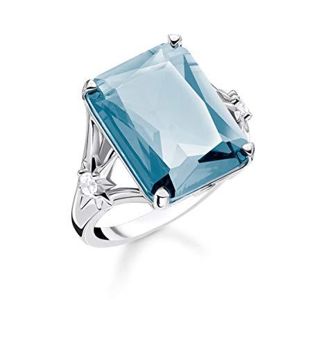 Thomas Sabo TR2261-644-31 - Anillo para mujer (plata de ley 925, piedra azul), diseño de estrella, color negro