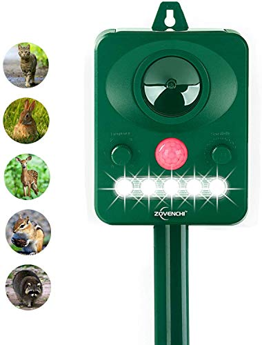 ZOVENCHI Ultrasonic Animal Pest Repeller, Outdoor Solar Powered Pest and Animal Repeller, Waterproof Deterrent Scarer - Motion Sensor, Repels Cat, Dog, Rabbits, Fox, Raccoons, Skunk, Rats