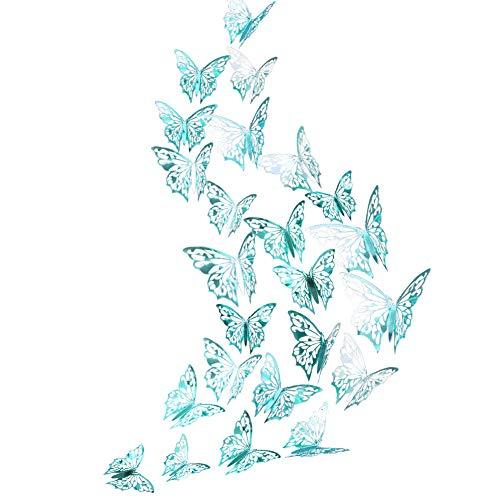 Adhesivo decorativo para pared, diseño de mariposa, color verde azulado, brillante, metálico, extraíble, para salón, dormitorio, sala de sol, tienda, decoración de guardería, fiesta temática
