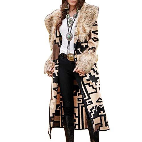 Katenyl Gabardina con solapa y manga larga estampada a la moda para mujer, chaqueta larga y ajustada para todos los tamaños, Europa y América XL