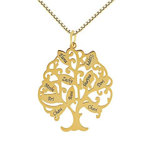 Damofy Personalisierte Namenskette Stammbaum mit bis zu 10 Namen Sterling Silber/Gold/Rotgold Lebensbaum Kette für Frauen Oma Mutter Mama Nana Kette
