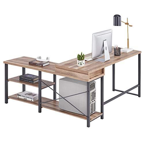 BON AUGURE L Shaped ComputerDesk, Rustic Corner Desk with Shelves, Wood Home Office Desks for Workstation (59 Inch, Vintage Oak)