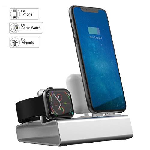 JSW Apple Watch ワイヤレス充電スタンド 3in1 iPhone Airpods 充電 スタンド アイフォン充電ケーブル/アップルウォッチ 充電器 ワイヤレス/Airpods 充電ライン+充電 クレードル ドック 3台デバイス同時に充電可能