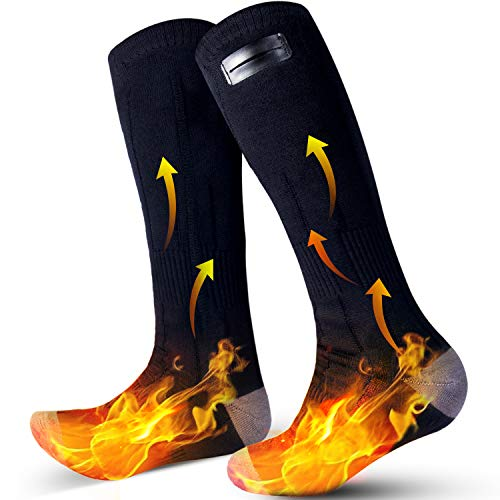Heated Socks, Rechargeable Heated Socks for Men Electric Socks with 2 Heating Plates & 3 Heating Settings up to 8 Hours, Washable Heated Socks Winter Warm Socks for Skiing Camping Fishing Hiking