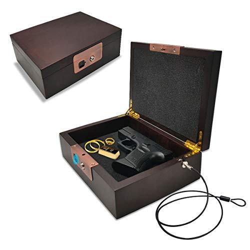 MONOJOY Gun Case with Fingerprint Lock, Gun Safe for Pistols, Durable and Sturdy Walnut Wood Handgun Case