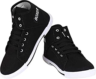 Tryviz Black Boxer & Casual Shoes Comfortable Sports Lace Up Shoes for Boys & Kids
