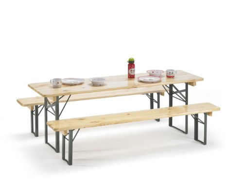 Traturio Ensemble table et bancs pliants avec protection de sol 150 x 45 x 52 cm