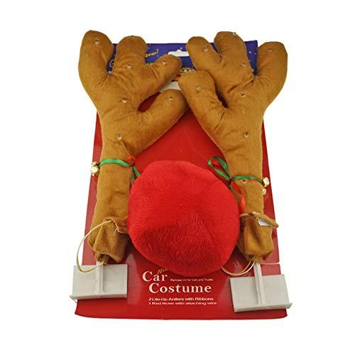 Auto LED licht Antlers Rode Neus Rendier, Auto Decor Truck Kostuum Kerst Decoratie