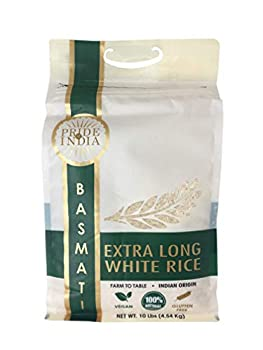Pride Of India - Extra Long Indian Premium White Basmati Rice 10 Pound  4.54 Kilo  Reclosable Bag - Naturally Aromatic Aged Flavorful Slender Non Sticky Grains - Great Value for Money