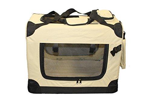 walexo Faltbare Hundebox Hundetransportbox Katzentransportbox Katzenbox (BEIGE, XL)