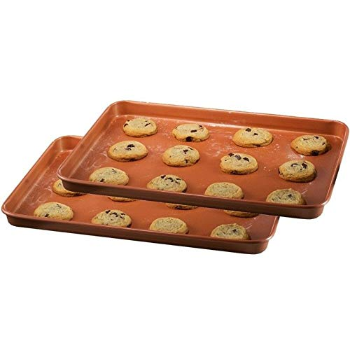 Bakeware Nonstick XL Copper Baking & Cookie Sheet 17″ x 12″– 2 Pack | Save Now Shop Now