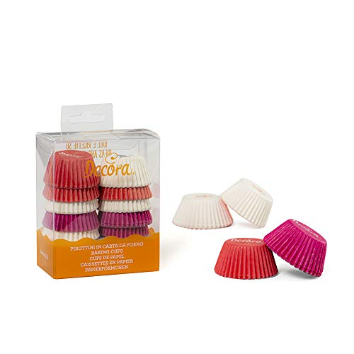 Decora 0339749 Paquet 200 CAISSETTES Mini Muffin Blanc/Rose/Fuchsia 32 X 22 MM, Paper, Multicolore, 30 x 3,2 x 2,2 cm