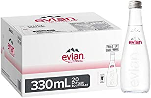 Evian Natural Mineral Water, Glass Bottles, 20 x 330ml