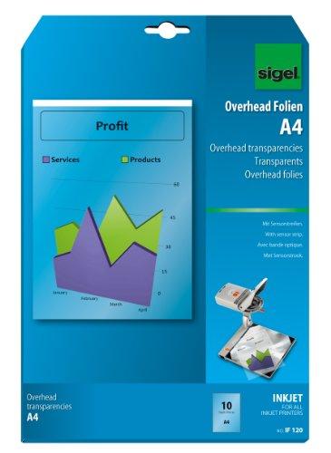 SIGEL IF120 OHP-Folien / Overhead-Folien für InkJet / Tintenstrahldrucker A4, 10 Blatt, mit Sensorstreifen