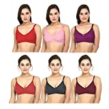 Bilqis Women Cotton Non Padded Non-Wired Regular Bra (Pack of 6) (BL-0568_Multicolored_34)