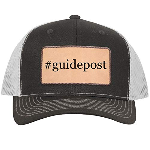 #Guidepost - Hashtag Leather Light Brown Patch Engraved Trucker Hat GreyWhite, One Size