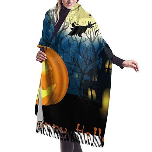 JONINOT Kürbis Halloweencashmere Schal, Frauen weichen Kaschmir Wolle Schal großen Schal