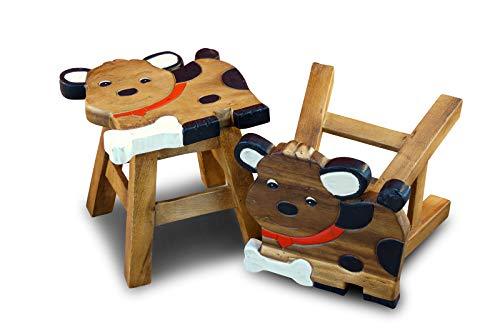 Handgefertigter Kinder Hocker Eule - Massivholz doppelt verstrebt
