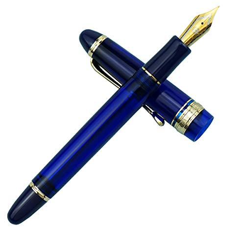 Wing Sung 699 Pluma estilográfica con relleno al vacío, punta extrafina, borde dorado, acrílico translúcido de color azul con caja de regalo