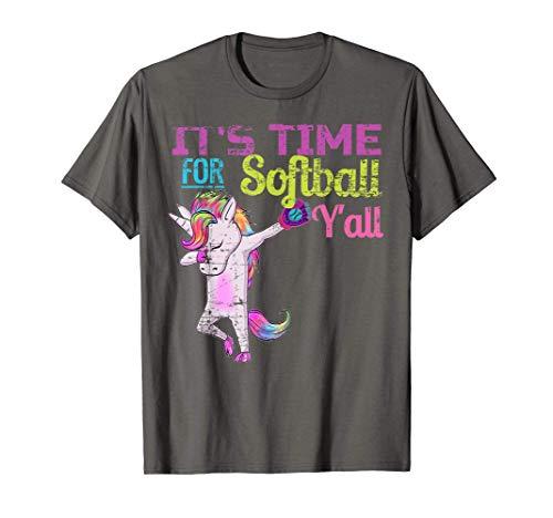 Softball Shirt Girls Dabbing Unicorn Softball Yall Vintage T-Shirt