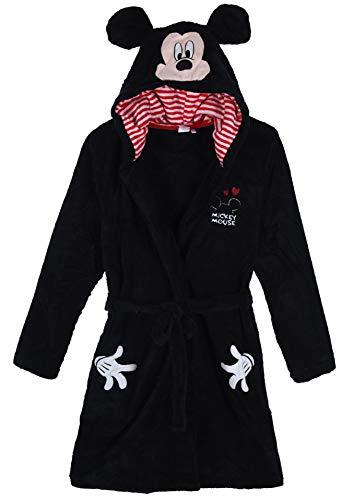 Disney Superweicher und gemütlicher Korallenvlies-Bademantel aus 100% Polyester mit Kapuze für Damen Klein Schwarz