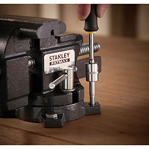 Stanley Maxsteel Schraubstock leichte Ausführung 1-83-065 / Gusseiserner Tischschraubstock mit 85mm Ausladung, 100mm Spannweite & 110kg Spannkraft für den vielseitigen Einsatz - 6