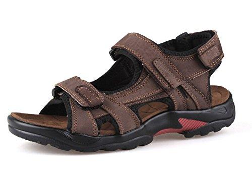 DADAWEN Men's Athletic Leather Strap Gladiator Outdoor Sandal Brown US Size 12