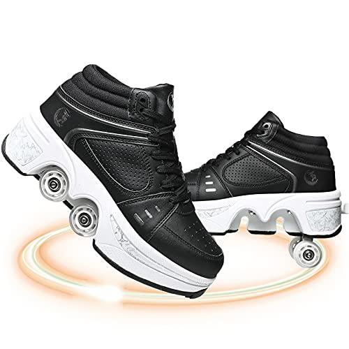Patines 4 Ruedas Niña Patines Ajustables Deform Patines Kick Roller Shoes Roller Shoes Tenis con 4 Ruedas