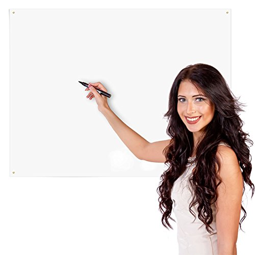 KITLIFE Wet Erase Whiteboard Sheet - Alternative to Heavy Erasable Board – Flexible Writing Sheet Sticks to Office Walls with Supplied Adhesive Mounting Strips - Dry Erase Markers Included, 36 x 48'