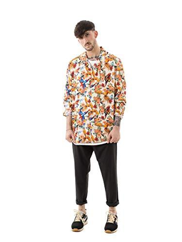 Guess LS Resort Shirt Camisa, Multicolore, M para Hombre