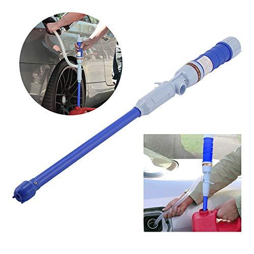 OurLeeme Bomba Manual de trasvase de líquidos, Bomba de Transferencia de Agua de Combustible líquido, Bomba de succión Flexible eléctrica automática alimentada por batería (Azul)
