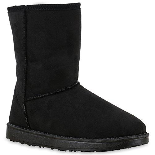 Bequeme Damen Schlupfstiefel Winter Boots Stiefel Gefüttert Schuhe 131594 Schwarz Amares 38 Flandell