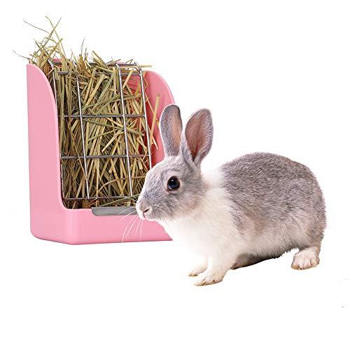Alimentador de heno de conejo, conejito de heno, conejito de heno estante para mascotas jaula para conejos de indias pequeños animales.